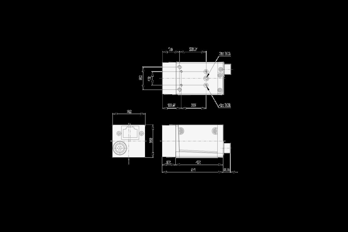 Abmessungen der acA640-90gc