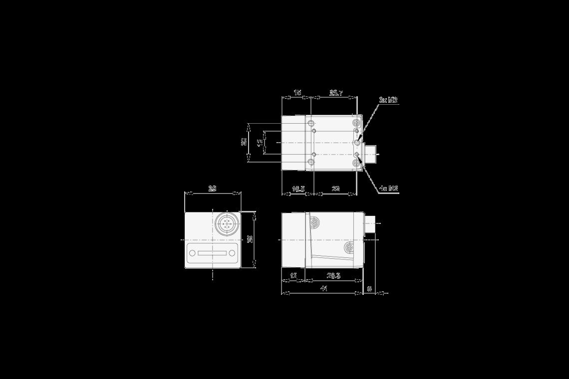 Abmessungen der acA640-90uc